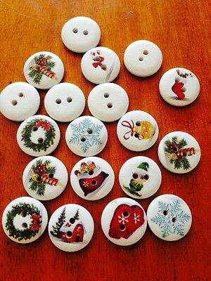 Wooden Round Christmas Buttons x 25