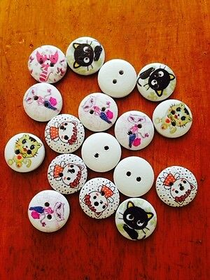 Wooden Round Cat picture Buttons x 25