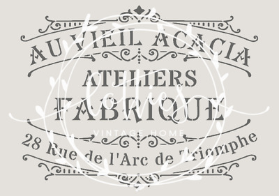 A4 Stencil AU VIEIL ACACIA Fabric Furniture Vintage Shabby Chic French 190 MYLAR