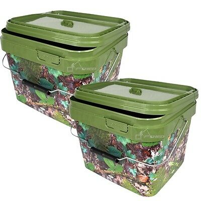 2 X Square 10L Camo Bait Bucket For Boilies Pellets With Hinged Table Lid Carp