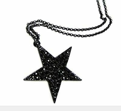 Funky Black Star Necklace Pendant Long Chain Retro Indie Emo Gothic Fashion