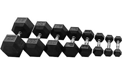 EVINCO Rubber Encased Hex Hexagonal Dumbbells 1kg-30kg Pairs Sets Gym Weights