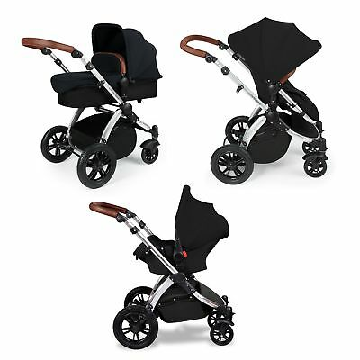 Ickle Bubba Stomp v2 3-in-1 Baby Travel System - Black on Silver Combination