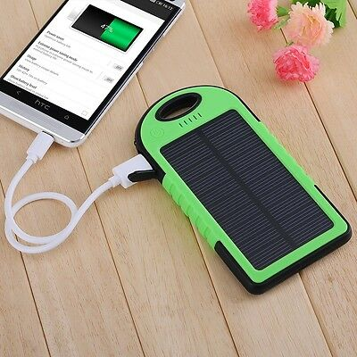 Waterproof 5000MAH Dual-USB Solar Power Bank Battery Charger for iPhone 5s 5c
