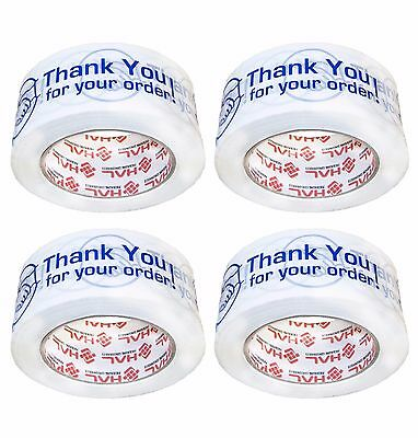 "4 Rolls THANK YOU FOR YOUR ORDER Box Shipping Tape 2"" 110 Yds 300ft"
