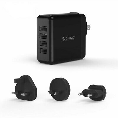 ORICO 30W 4 Port 2.4A Fast Multi USB Wall Charger Plug UK Travel Power Adapter