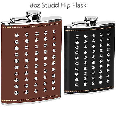 8oz Studded Hip Flask Stainless Steel Leather Effect Brown Black Stud Christmas
