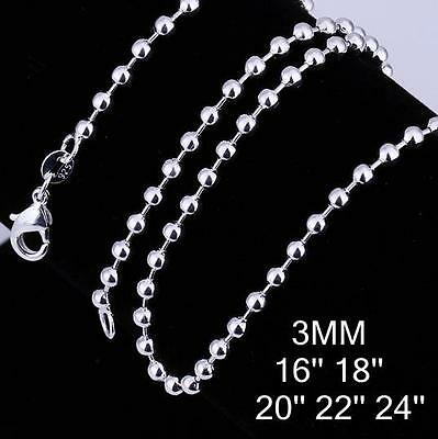 Stunning 925 Sterling Silver 3MM Classic Ball Necklace Chain Wholesale Price