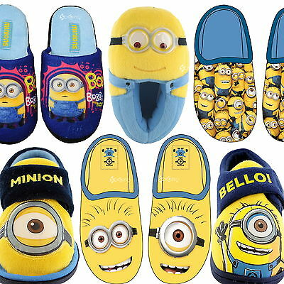 Boys Despicable Me Minions Mule Slippers Sizes 6-12 Girls Kids New Gift