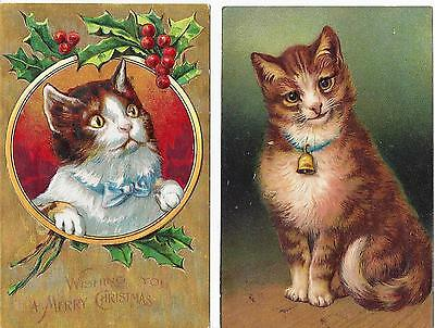 2 Postcards Vintage Cute Cats Christmas Greeting Holly Blue Bow Tie and Bell