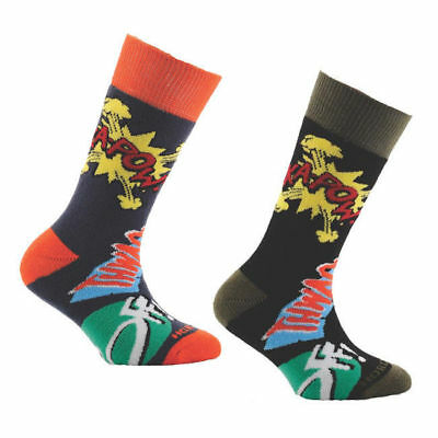 Horizon Kids Outdoor Socks 2 Pack Kapow! Print Black & Blue  12.5-3  -80% Cotton