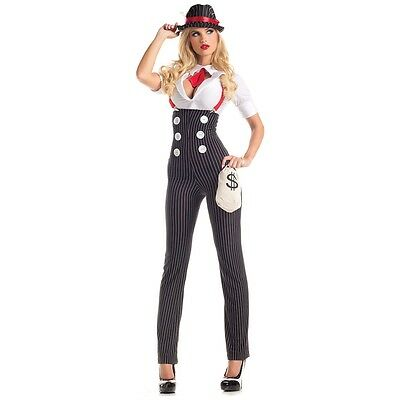 Gangster Costume Adult 20s Mafia Girl Bonnie and Clyde Halloween Fancy Dress