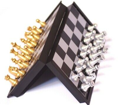 Magnetic chess,Silver & gold pieces chess,Folding magnetic board,foldable board