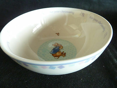 """Wedgwood Peter Rabbit For Your Christening 1 Coupe Cereal Bowl   5 3/4"""" D"""