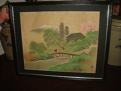 Japanese Painting On Silk Country Village Water Scene Signed