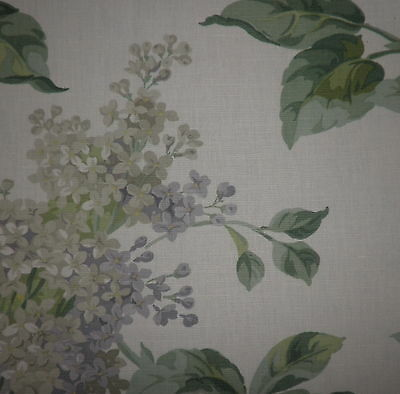 SCALAMANDRE Lilac Floral Green Oyster Linen Cotton Remnant New