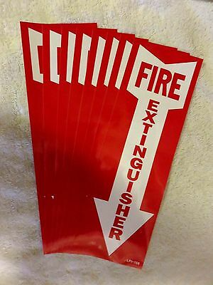"""(Lot Of 8) Self-Adhesive Vinyl """"fire Extinguisher Arrow"""" Sign's...4"""" X 12"""" New"""
