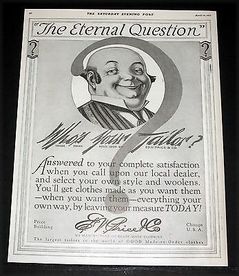1917 Old Magazine Print Ad, E.v. Price, The Eternal Question, Who's Your Tailor?