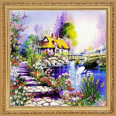 New Swan Romantic Warm House Beautiful Flowers 3D Ribbon Embroidery Kit 65*65CM