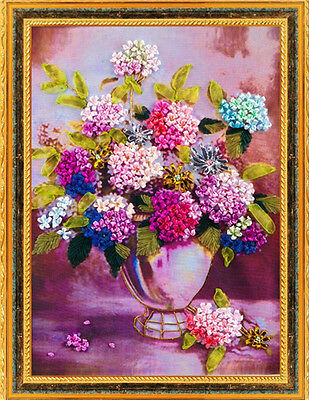 Lovely Beautiful Multicolour Flower Tuzzy-Muzzy 3D Ribbon Embroidery Kit 45*60CM