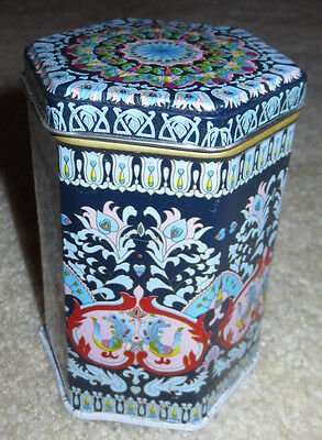 Small Hexagon Metal Tin Container Canister Beautiful Blue Ornate Unique Shape