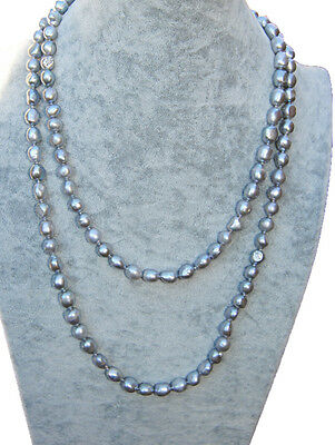 "HAND MADE 47"" 120cm LONG 9-10 MM GREY FRESHWATER PEARL NECKLACE - RRP £100 Plus"