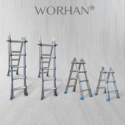 WORHAN® Foldable Ladder Multi Purpose Extendable Aluminum Extension Ladders