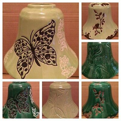 Green Ceramic Candle Jar Shade - Various Designs (inc Butterfly)