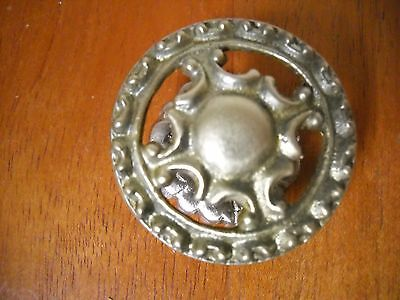 Antique Cast Brass Knob Drawer Door Pull With Backplate