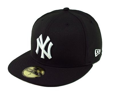 NEW ERA 59Fifty Cap MLB New York Yankees Baseball Fitted Black 5950 Hat Wool