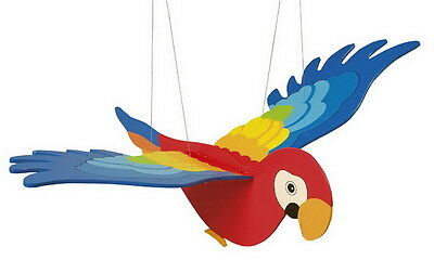 Large Colourful Wooden Hanging Flying Flapping Parrot  Bird Mobile Nursery GOKI