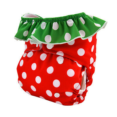 Alva Cloth Diaper Double Gusset Strawberry Reusable Pocket Nappy For Girls