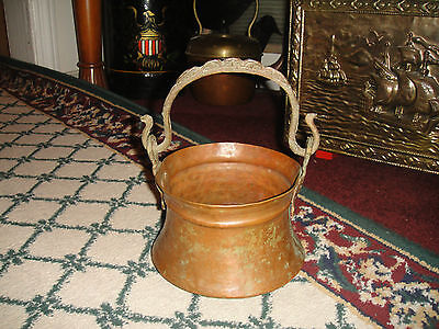 Vintage Middle Eastern Hammered Copper Hanging Cauldron-Snake Handle-LQQK