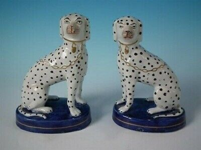 Pair Staffordshire Dalmatians on cobalt blue bases