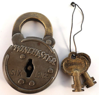 Winchester Old Looking 6 Lever Lock Steel Case 2 Keys Antique Finish
