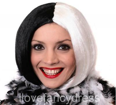 Deluxe Bob Wig Half Black Half White Villain Book Character Fancy Dress Costume