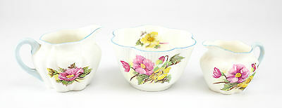 3pc. Set of Shelley Fine Bone China Open Sugar, & 2 Creamers Pattern #272101