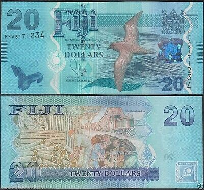 Fiji 20 Dollars, 2013, P-117, UNC, Bird