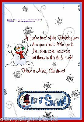 Christmas Holiday Microwave Popcorn Label  Personalized FREE Party Favor