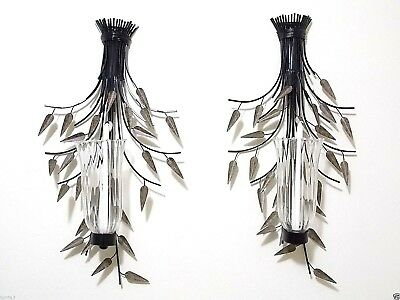 Set of (TWO) Metal Wall Hanging Candle Holder with  Leaves