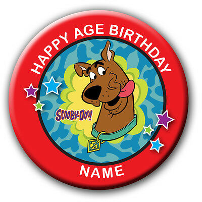 PERSONALISED SCOOBY DOO  BIRTHDAY BADGES/FRIDGE MAGNETS/MIRRORS - 58MM or 77MM