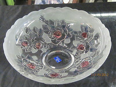 Mikas Studio Nova Large Pink Festive Flower Centerpiece Serving Bowl Dish!