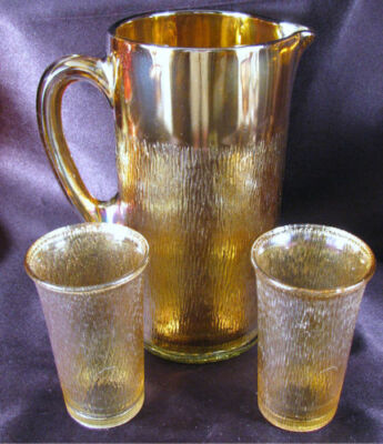 Vintage Imperial Tree Bark Marigold Carnival Glass Pitcher Tumbler Water Set NR