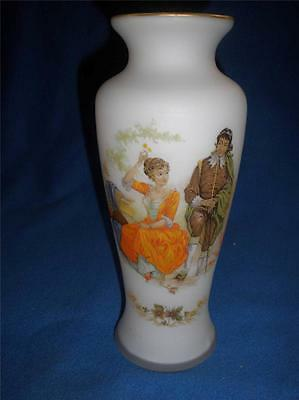 Stunning Frosted Glass Vase With Gold Trim And Figure Feature