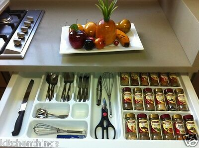 1/2 Spice Rack & 1/2 Cutlery Tray Drawer Insert - All In One New Design