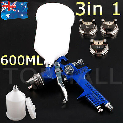 3 in 1 GRAVITY FEED HVLP PAINT SPRAY GUN, 3 NOZZLE 1.4mm 1.7mm 2mm Tips Included