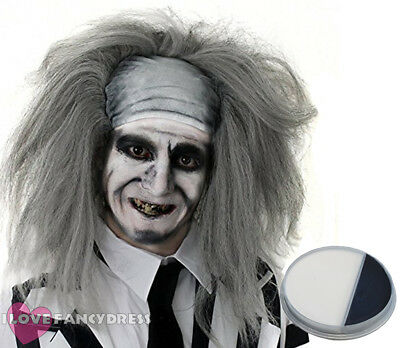 Spirited Ghost Wig Mens Mad Man Halloween Fancy Dress Costume Add Face Paint