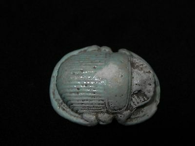 Zurqieh - Very Nice Large Ancient Faience Button Scarab, 600 B.c