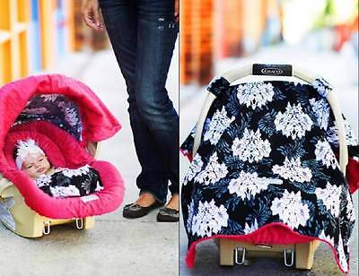 CARSEAT CANOPY Whole Caboodle Carseat Cover LOVELY Black PINK Minky NEW 5 PC