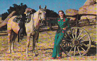 PALOMINO PARADE HORSE IN SILVER TACK COWGIRL RETRO GREEN OUTFIT C 1960 POSTCARD